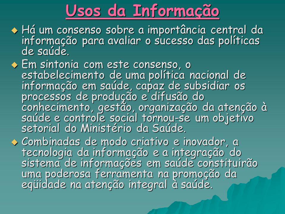 Usos da Informação Há um consenso sobre a importância central da informação para avaliar o sucesso das políticas de saúde.