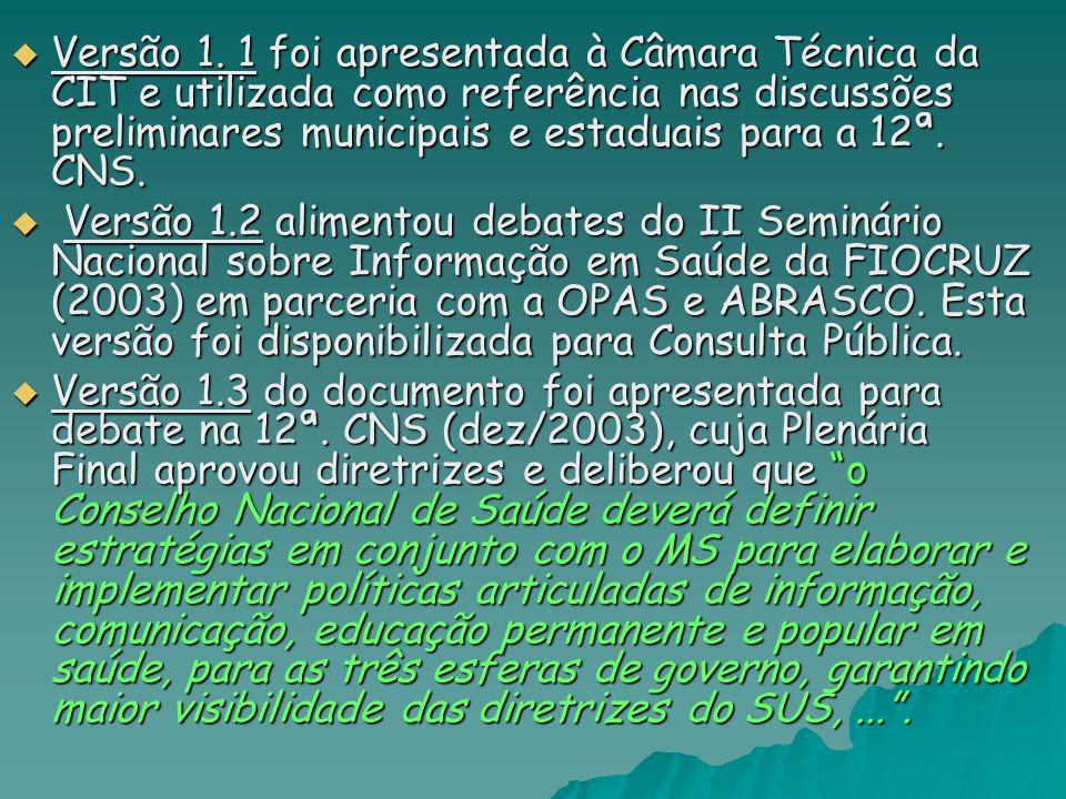 Versão 1. 1 foi apresentada à Câmara Técnica da CIT e utilizada como referência nas discussões preliminares municipais e estaduais para a 12ª. CNS.