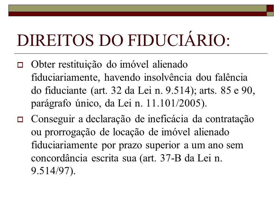 DIREITOS DO FIDUCIÁRIO: