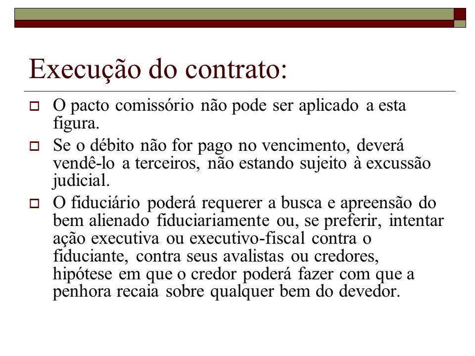 Execução do contrato: O pacto comissório não pode ser aplicado a esta figura.