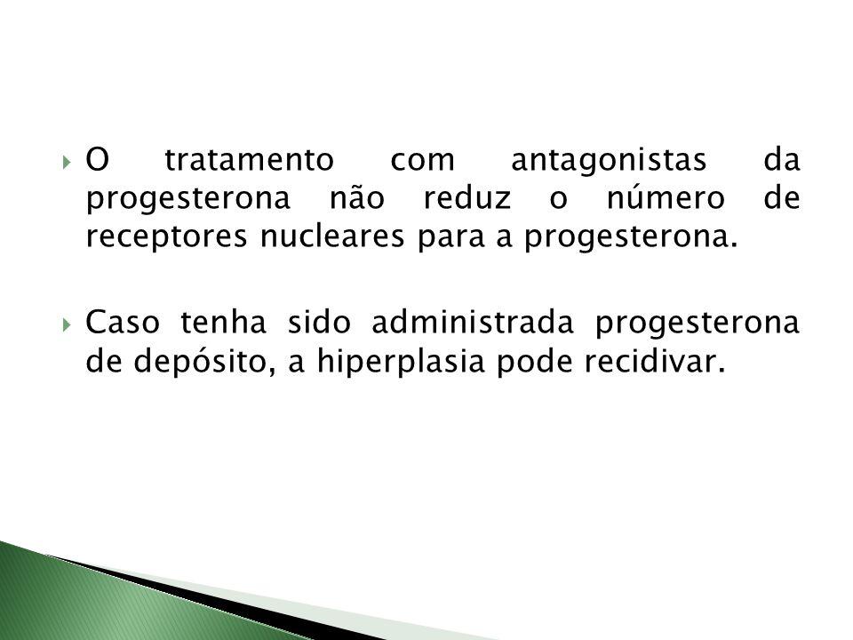 O tratamento com antagonistas da progesterona não reduz o número de receptores nucleares para a progesterona.