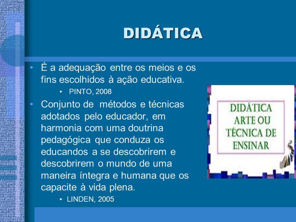 DIDÁTICA É a adequação entre os meios e os fins escolhidos à ação educativa. PINTO, 2008.