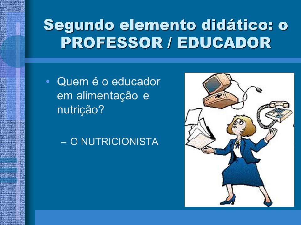 Segundo elemento didático: o PROFESSOR / EDUCADOR
