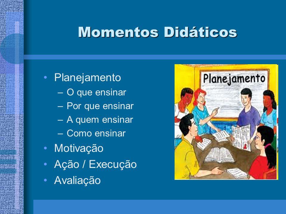 Momentos Didáticos Planejamento Motivação Ação / Execução Avaliação