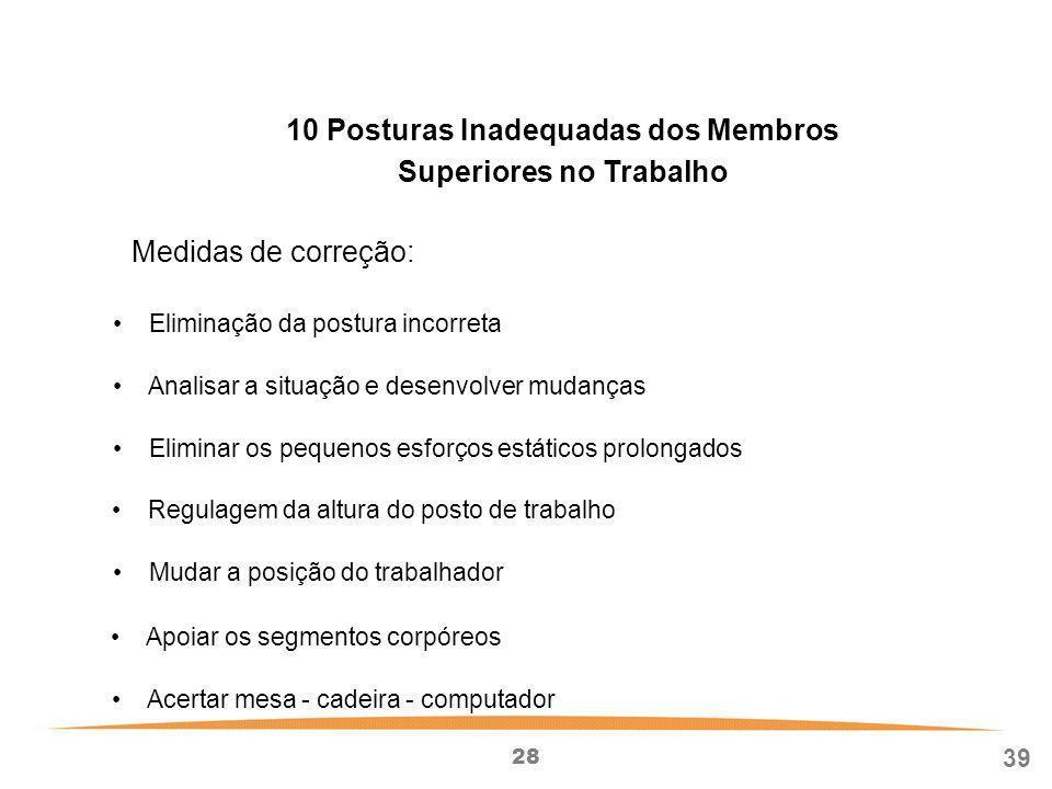10 Posturas Inadequadas dos Membros Superiores no Trabalho