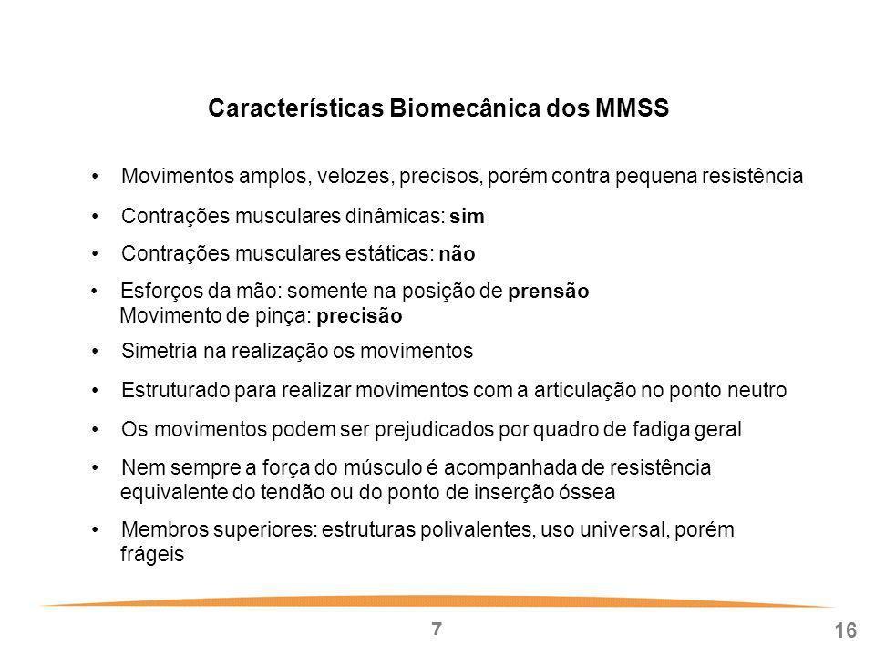 Características Biomecânica dos MMSS