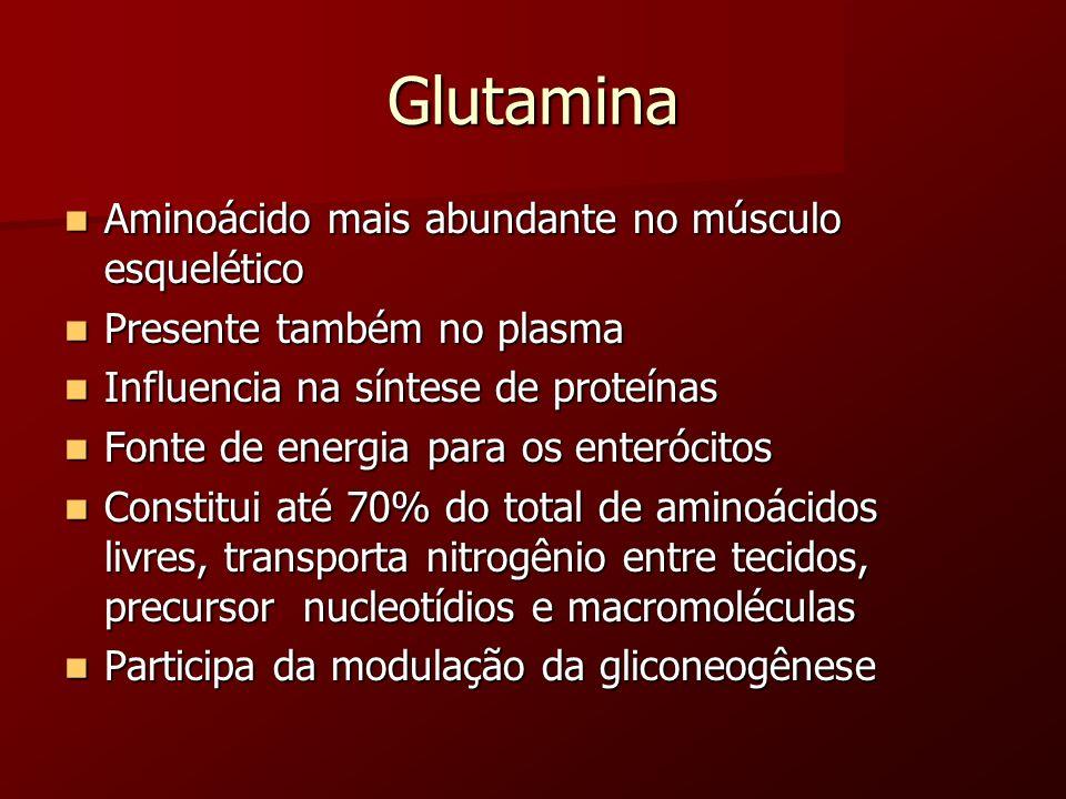 Glutamina Aminoácido mais abundante no músculo esquelético
