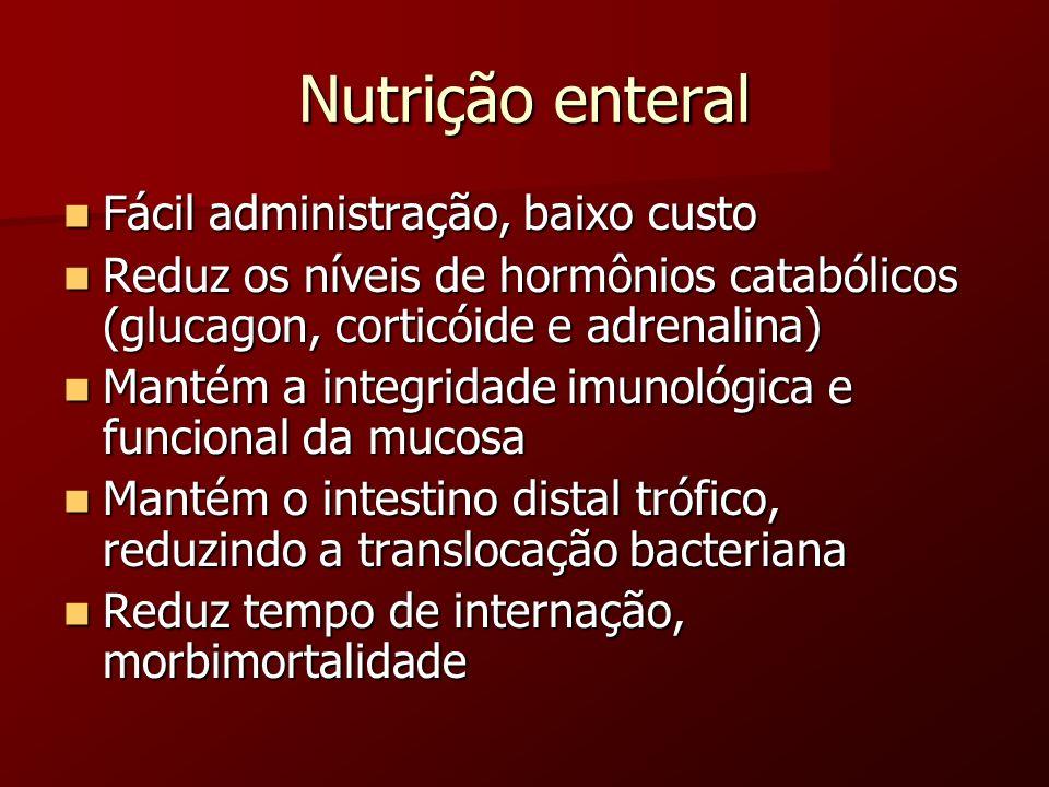 Nutrição enteral Fácil administração, baixo custo