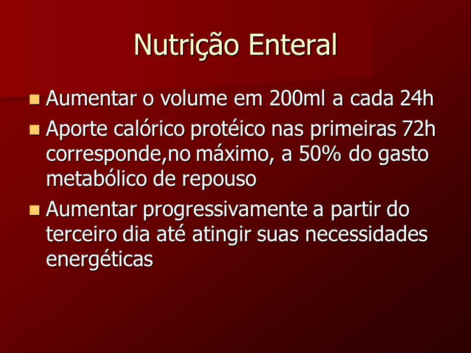 Nutrição Enteral Aumentar o volume em 200ml a cada 24h