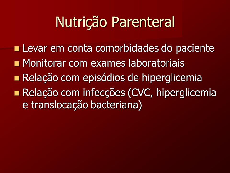 Nutrição Parenteral Levar em conta comorbidades do paciente