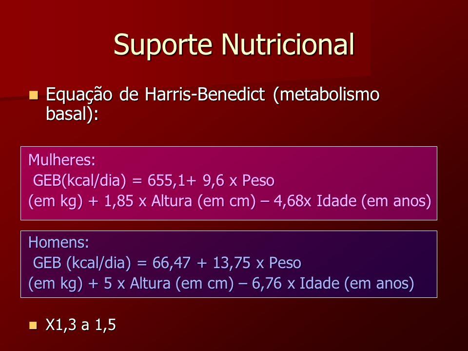 Suporte Nutricional Equação de Harris-Benedict (metabolismo basal):