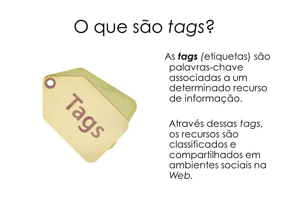 O que são tags As tags (etiquetas) são palavras-chave associadas a um determinado recurso de informação.