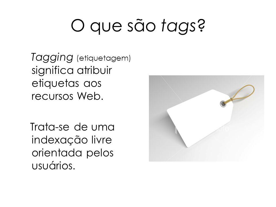 O que são tags. Tagging (etiquetagem) significa atribuir etiquetas aos recursos Web.