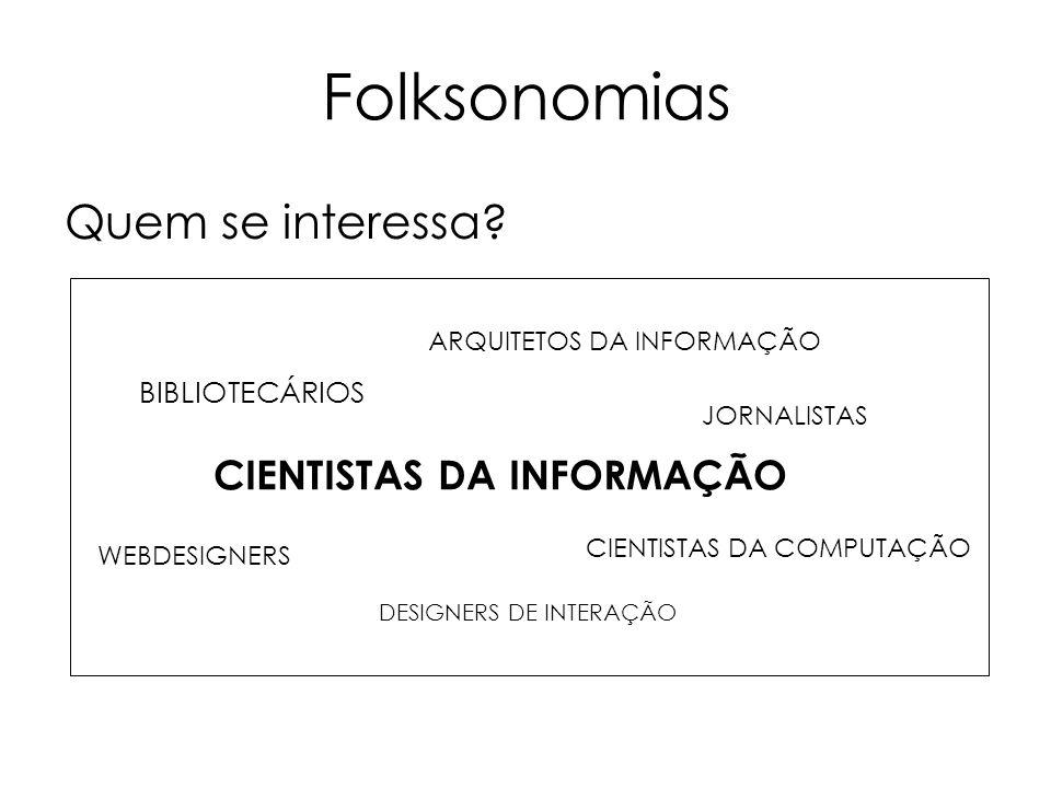 Folksonomias Quem se interessa CIENTISTAS DA INFORMAÇÃO