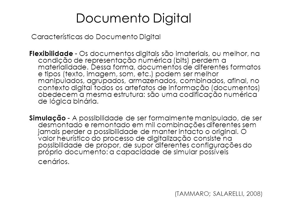 Documento Digital Características do Documento Digital