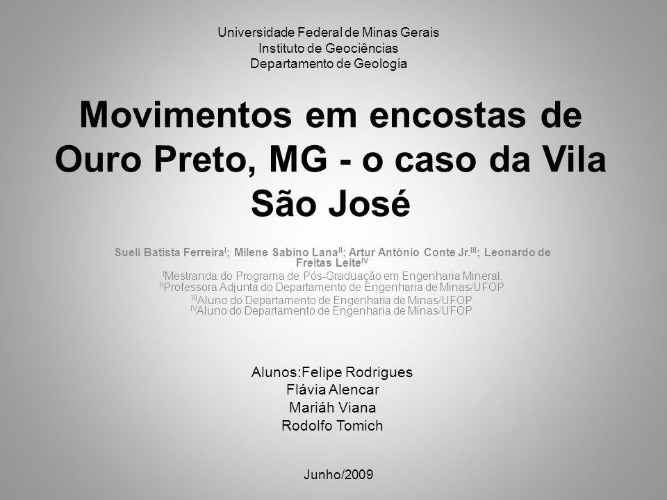 Movimentos em encostas de Ouro Preto, MG - o caso da Vila São José