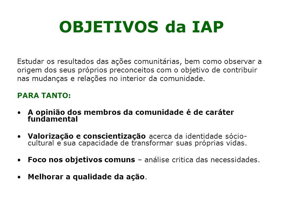 OBJETIVOS da IAP Estudar os resultados das ações comunitárias, bem como observar a.