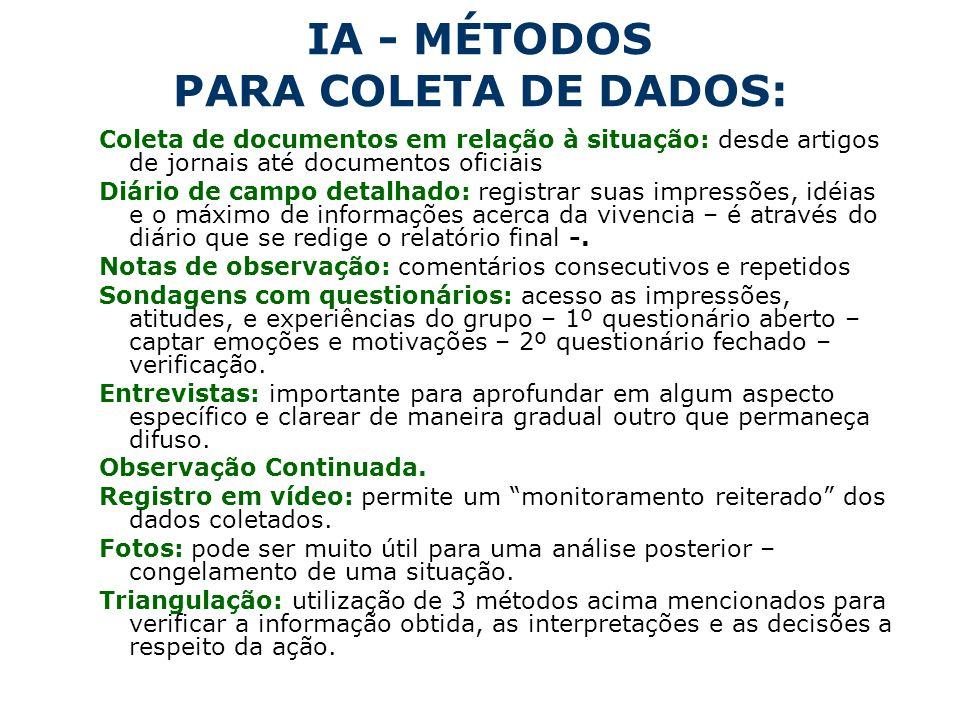 IA - MÉTODOS PARA COLETA DE DADOS:
