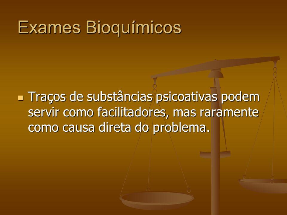 Exames Bioquímicos Traços de substâncias psicoativas podem servir como facilitadores, mas raramente como causa direta do problema.