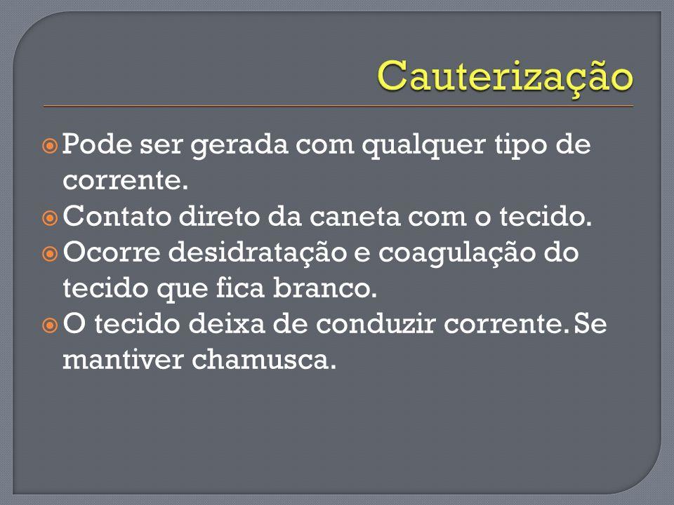 Cauterização Pode ser gerada com qualquer tipo de corrente.