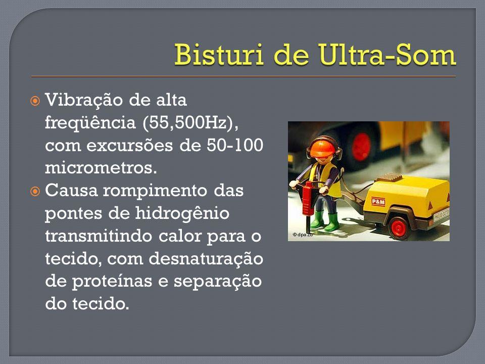 Bisturi de Ultra-Som Vibração de alta freqüência (55,500Hz), com excursões de 50-100 micrometros.
