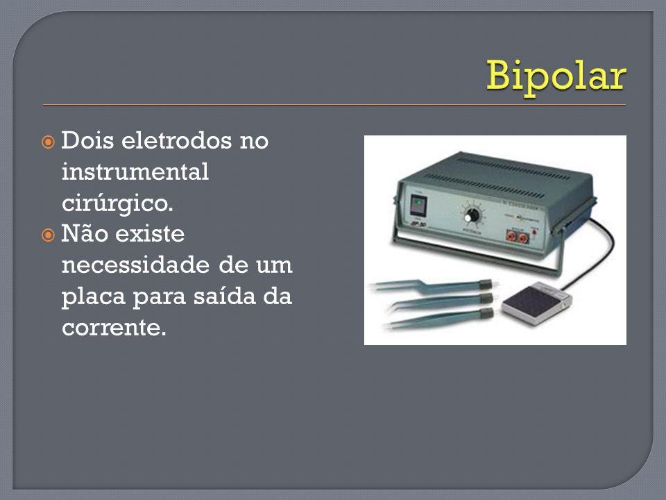 Bipolar Dois eletrodos no instrumental cirúrgico.