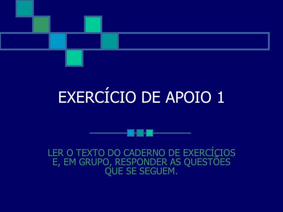 EXERCÍCIO DE APOIO 1LER O TEXTO DO CADERNO DE EXERCÍCIOS E, EM GRUPO, RESPONDER AS QUESTÕES QUE SE SEGUEM.
