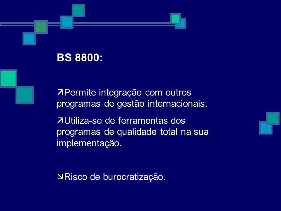 BS 8800:Permite integração com outros programas de gestão internacionais.