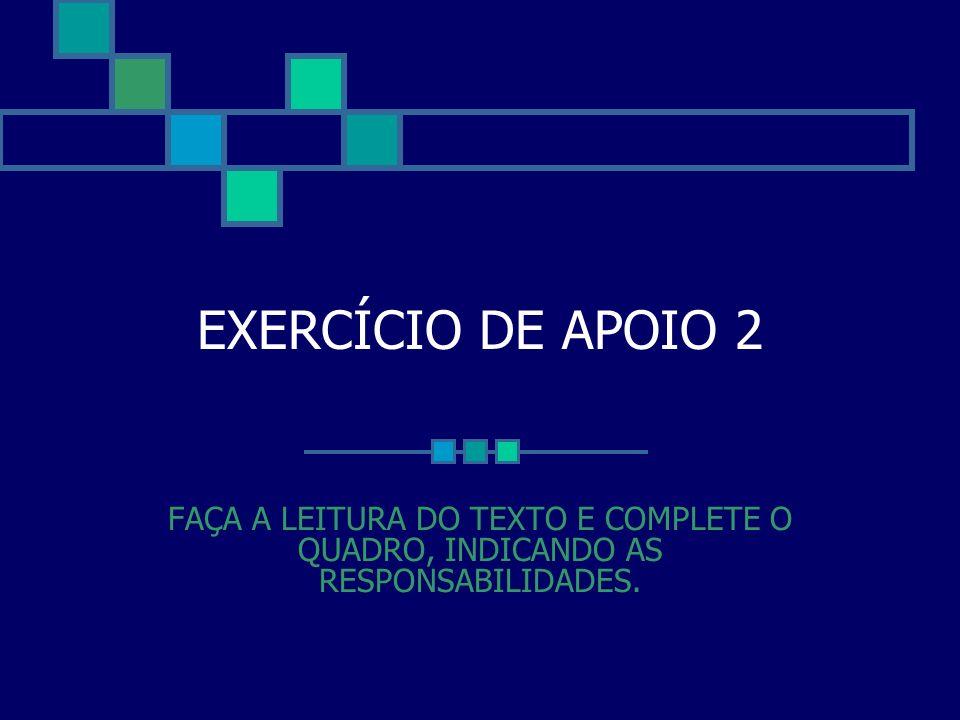 EXERCÍCIO DE APOIO 2 FAÇA A LEITURA DO TEXTO E COMPLETE O QUADRO, INDICANDO AS RESPONSABILIDADES.