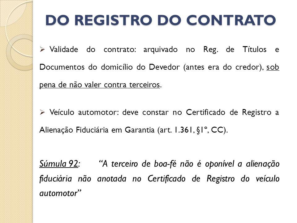DO REGISTRO DO CONTRATO