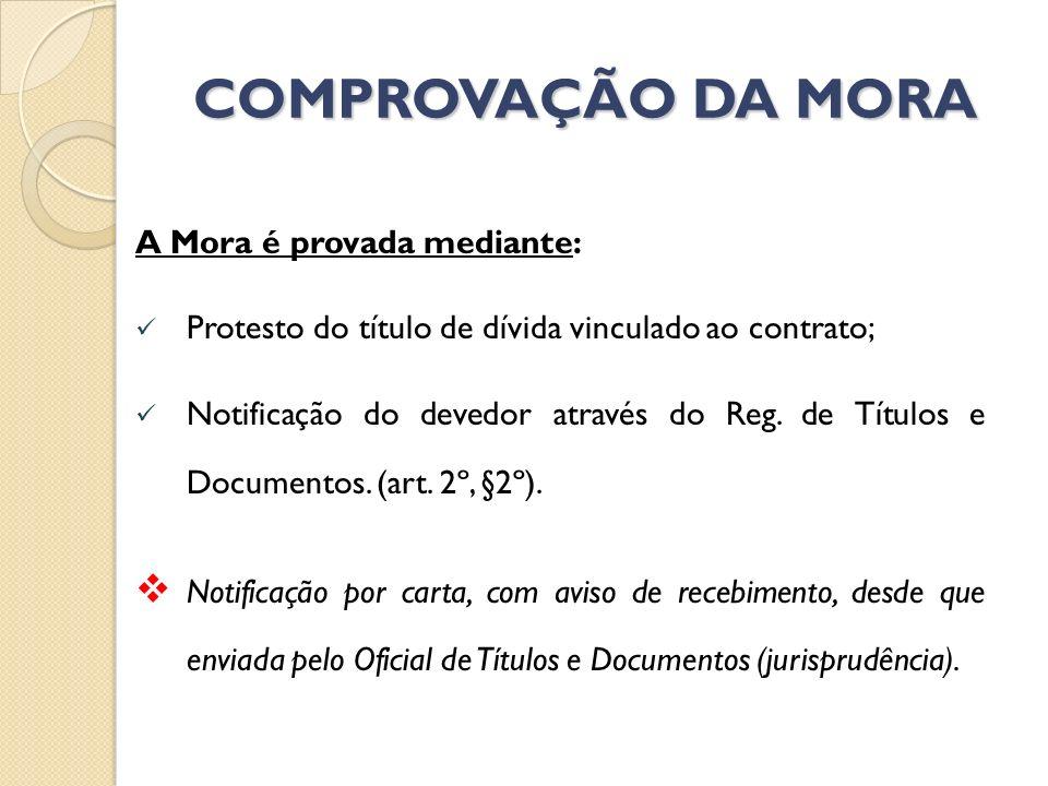 COMPROVAÇÃO DA MORA A Mora é provada mediante: