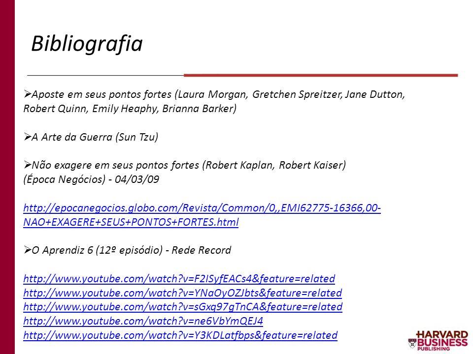 Bibliografia Aposte em seus pontos fortes (Laura Morgan, Gretchen Spreitzer, Jane Dutton, Robert Quinn, Emily Heaphy, Brianna Barker)