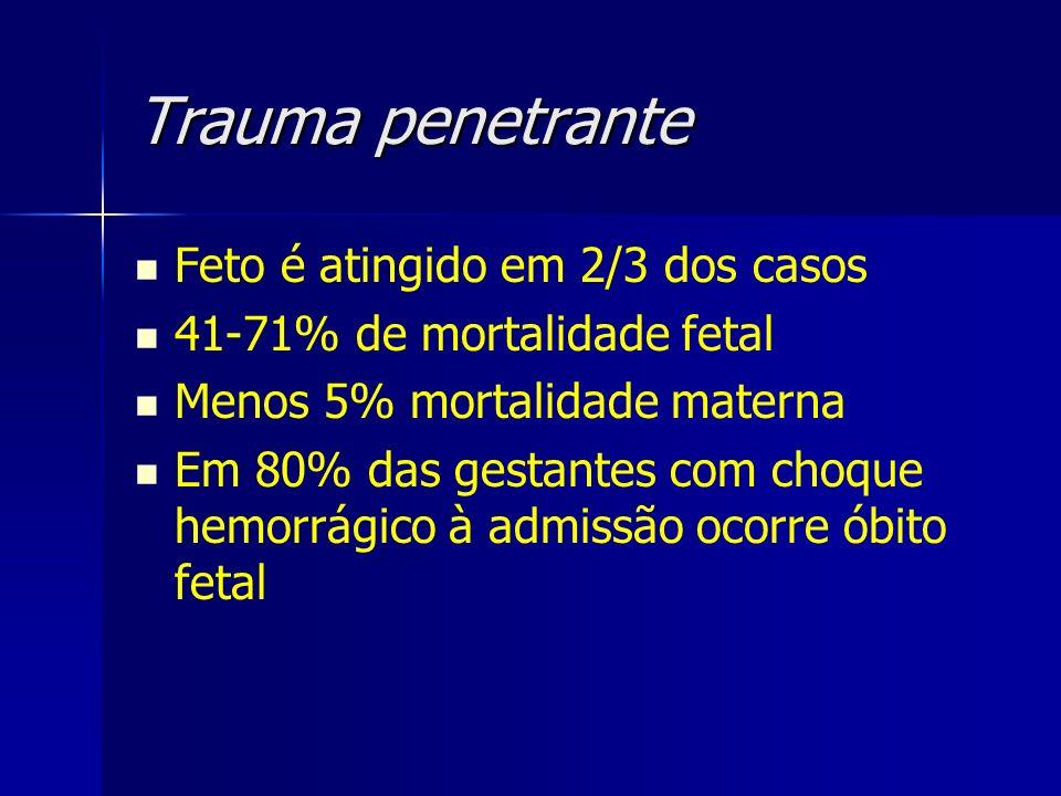 Trauma penetrante Feto é atingido em 2/3 dos casos
