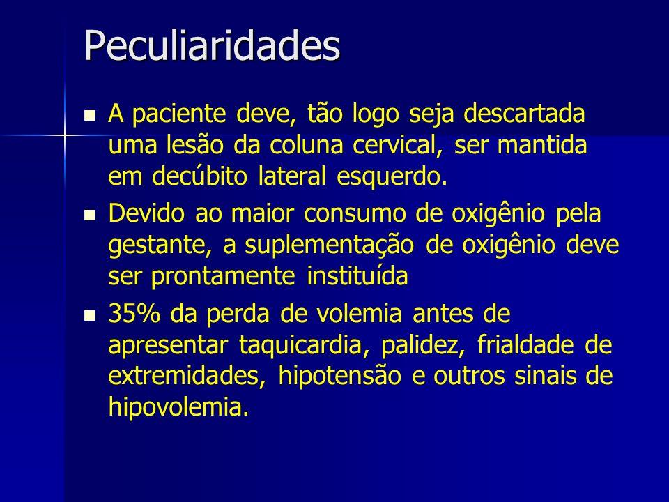 Peculiaridades A paciente deve, tão logo seja descartada uma lesão da coluna cervical, ser mantida em decúbito lateral esquerdo.