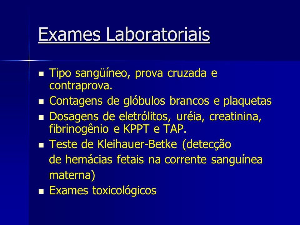Exames Laboratoriais Tipo sangüíneo, prova cruzada e contraprova.