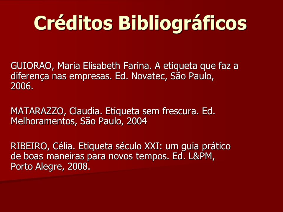 Créditos Bibliográficos