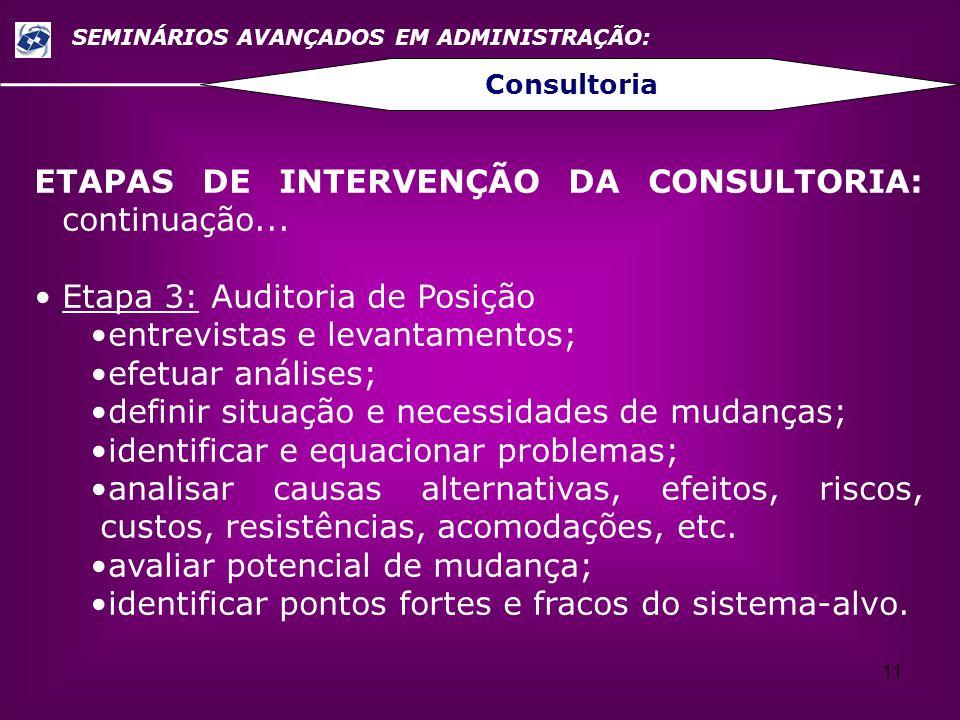 ETAPAS DE INTERVENÇÃO DA CONSULTORIA: continuação...