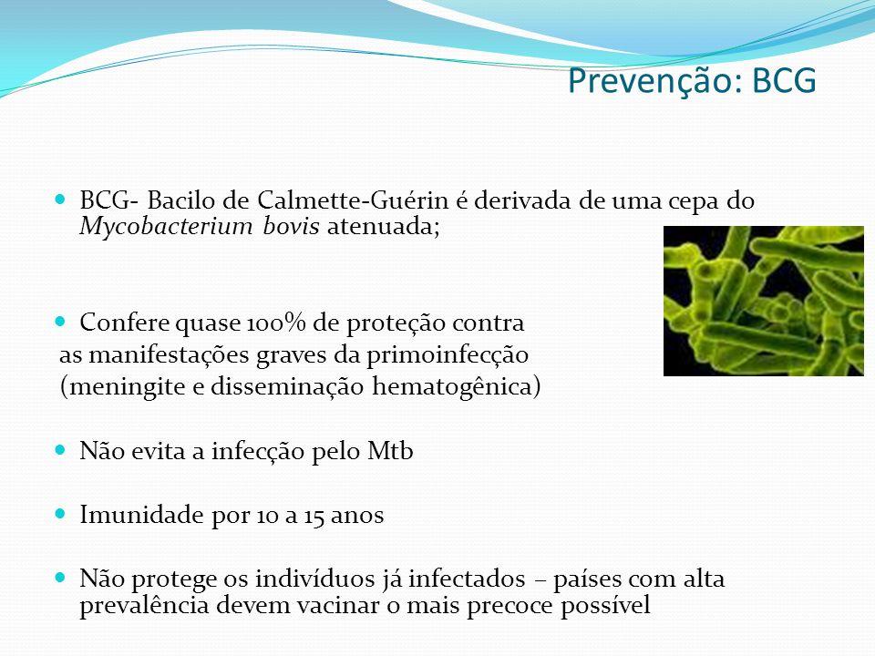Prevenção: BCG BCG- Bacilo de Calmette-Guérin é derivada de uma cepa do Mycobacterium bovis atenuada;