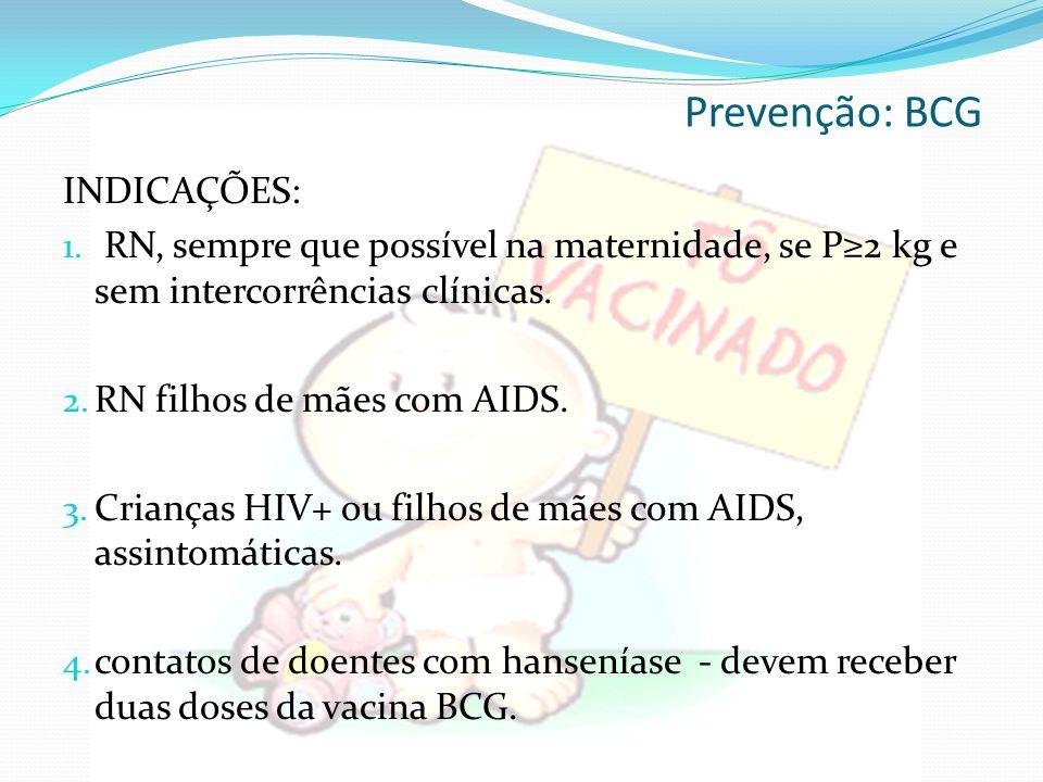 Prevenção: BCG INDICAÇÕES: