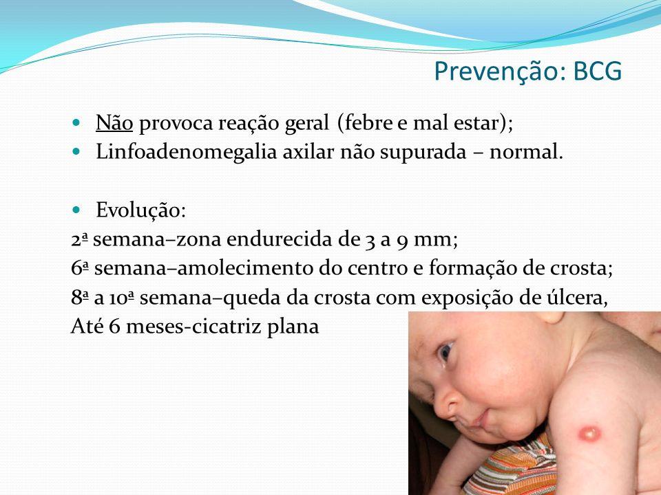 Prevenção: BCG Não provoca reação geral (febre e mal estar);