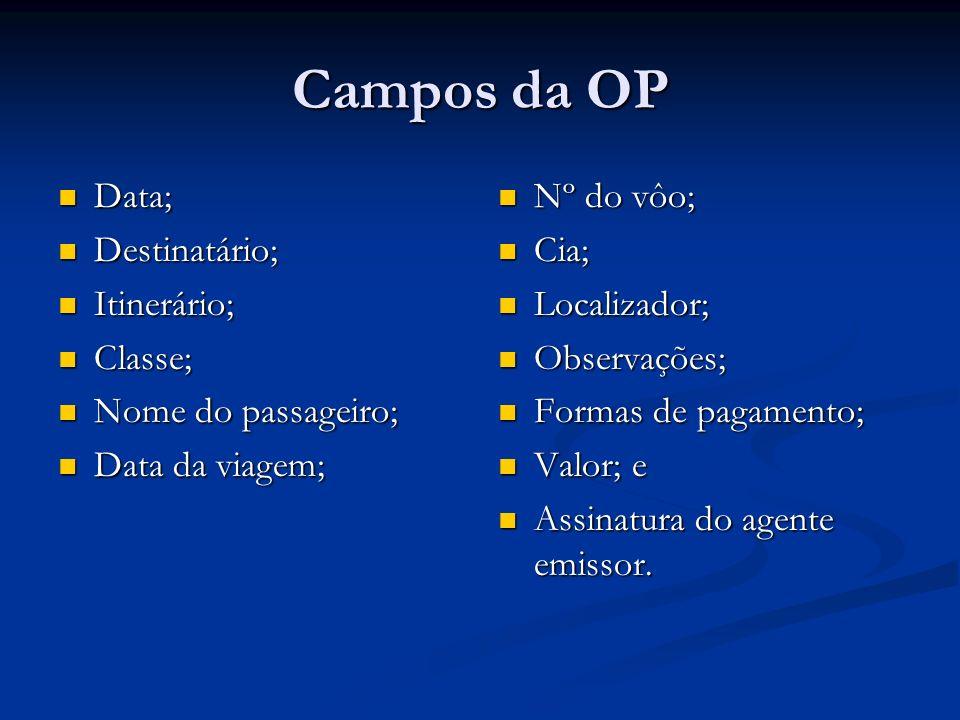 Campos da OP Data; Destinatário; Itinerário; Classe;