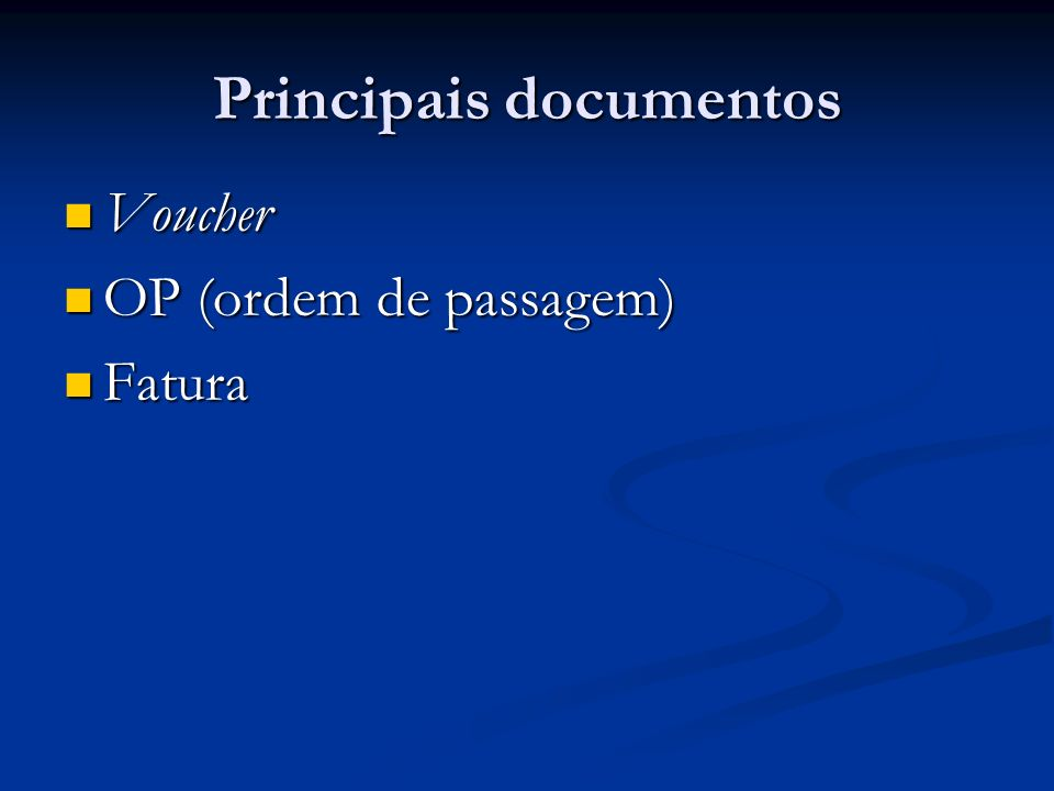 Principais documentos