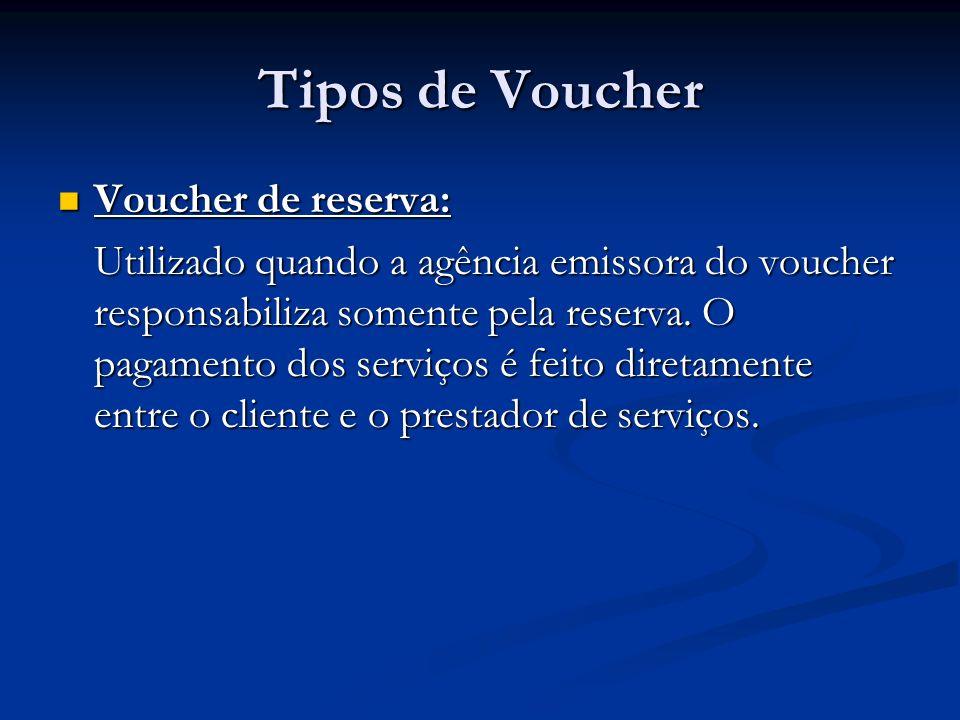 Tipos de Voucher Voucher de reserva: