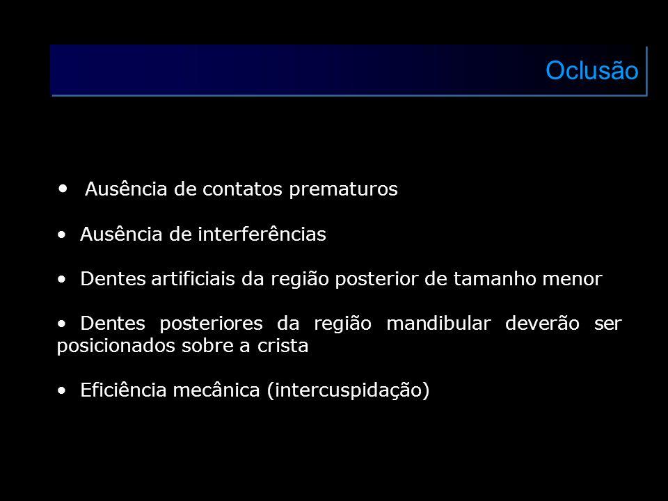 Oclusão Ausência de contatos prematuros Ausência de interferências