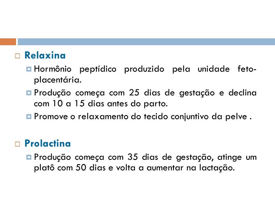 Relaxina Hormônio peptídico produzido pela unidade feto- placentária.