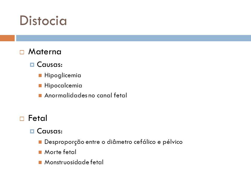 Distocia Materna Fetal Causas: Hipoglicemia Hipocalcemia