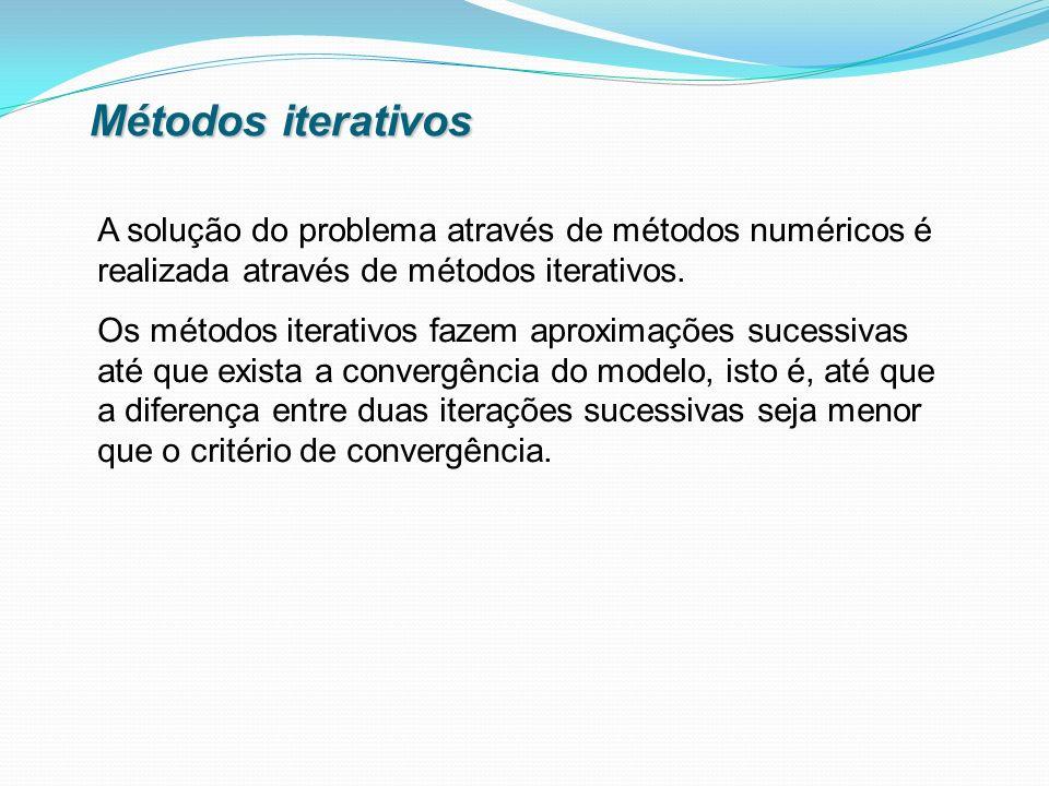 Métodos iterativos A solução do problema através de métodos numéricos é realizada através de métodos iterativos.
