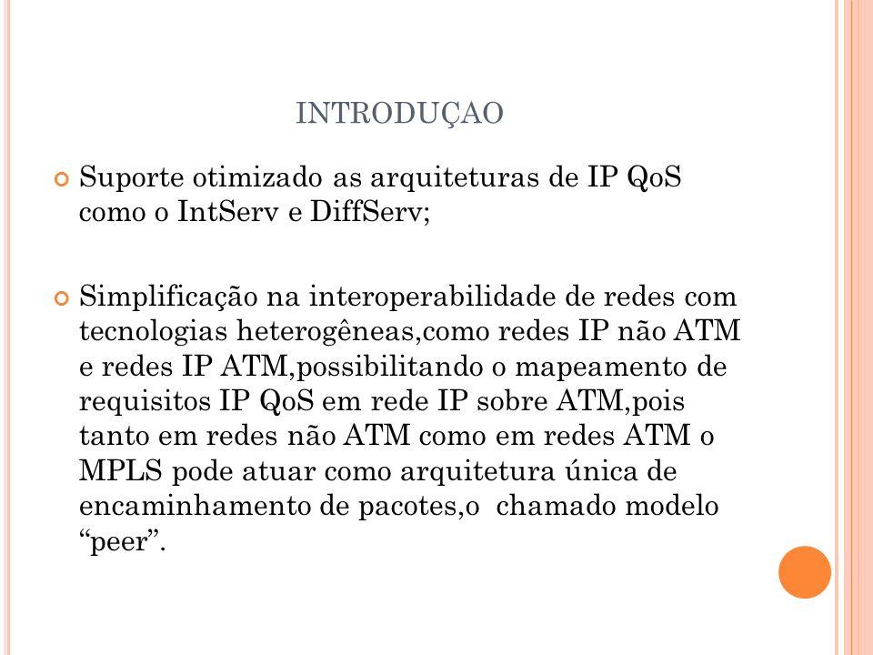 introduçao Suporte otimizado as arquiteturas de IP QoS como o IntServ e DiffServ;