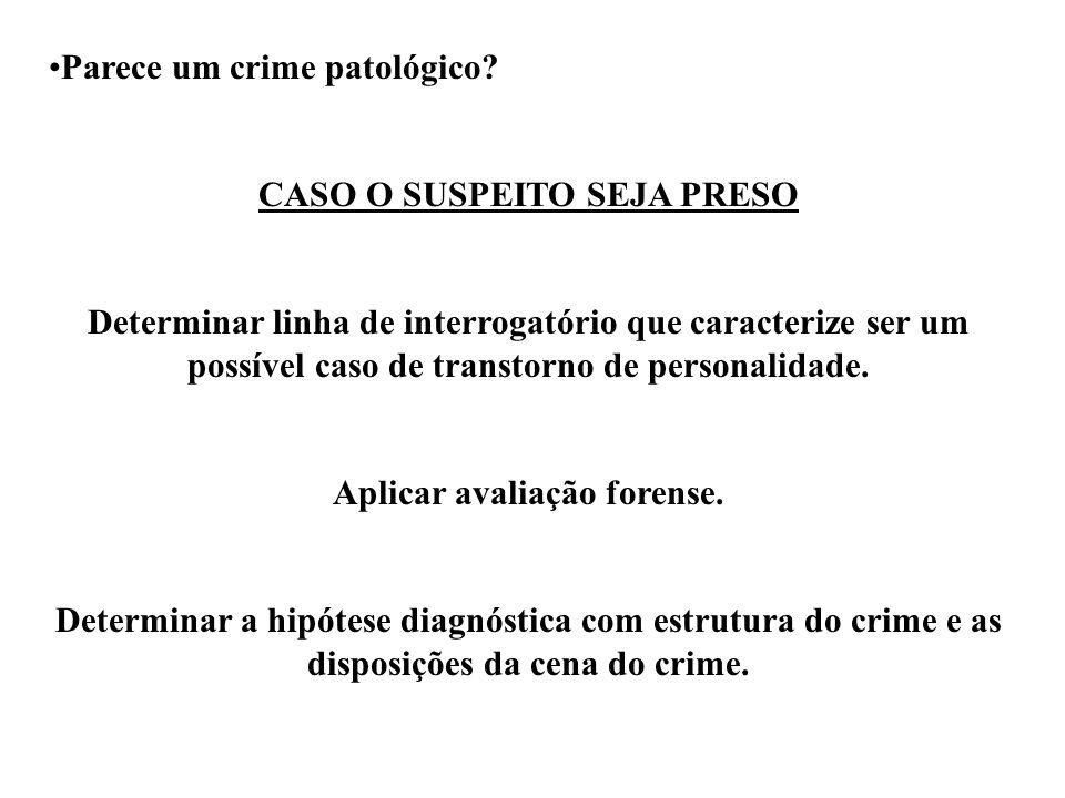 CASO O SUSPEITO SEJA PRESO Aplicar avaliação forense.