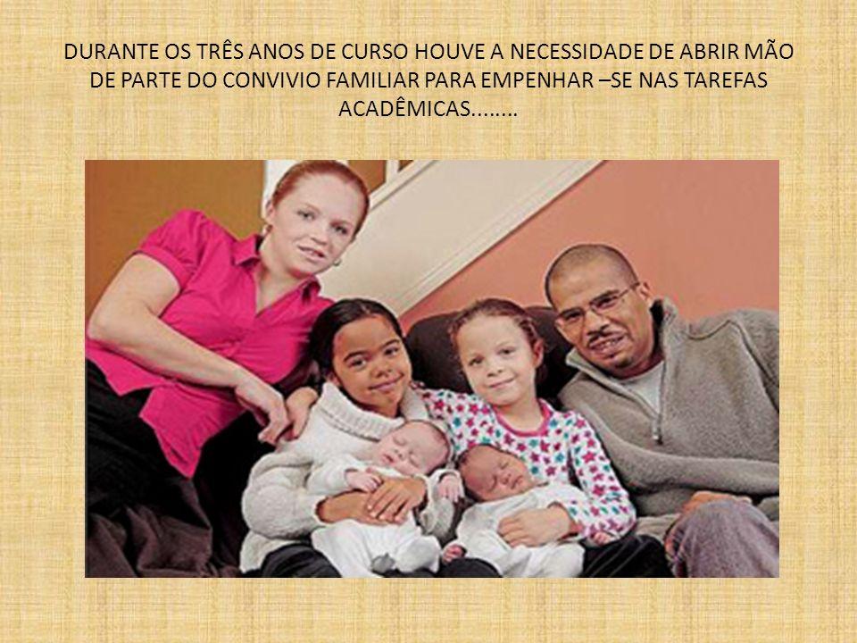 DURANTE OS TRÊS ANOS DE CURSO HOUVE A NECESSIDADE DE ABRIR MÃO DE PARTE DO CONVIVIO FAMILIAR PARA EMPENHAR –SE NAS TAREFAS ACADÊMICAS........